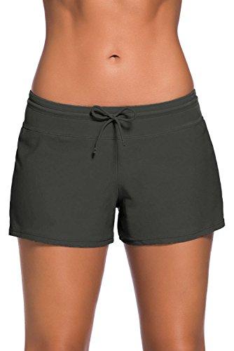 Damen Badeanzug Tankini Sport Seite Split Plus Größe unten Board Shorts, Klein, grau