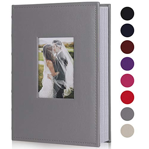 RECUTMS Photo Albums for 4x6 Photos Holds 300, 3 Per Pages Photo Picture Album PU Leather Cover, Horizontal Photos Record Family Wedding Anniversary Baby Holiday Album(Gray)