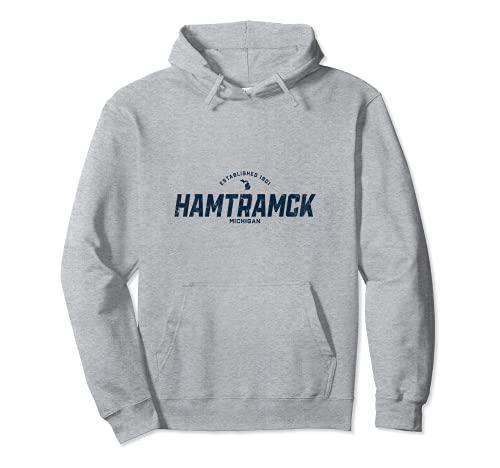 Hamtramck Michigan MI ヴィンテージ アスレチック ネイビー スポーツロゴ パーカー