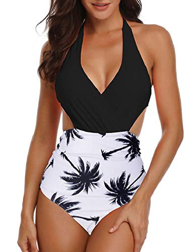 Yuson Girl Costume da Bagno Donna Sexy Bikini Intero Push Up con Taglio Incrociato Elegante Swimsuit Beachwear