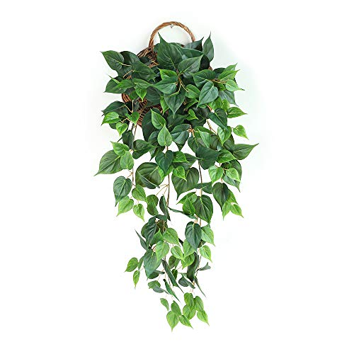 JUSTOYOU Plantas Artificiales para Colgar 95CM Falso Ivy Vine Falso Ivy Hojas Follaje Guirnalda Hojas Colgante para Pared Hogar Decor (Scindapsus)
