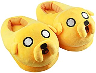 Momoso_Store adventure time jake slippers adult cotton home plush slippers winter warm shoes indoor 3d slippers