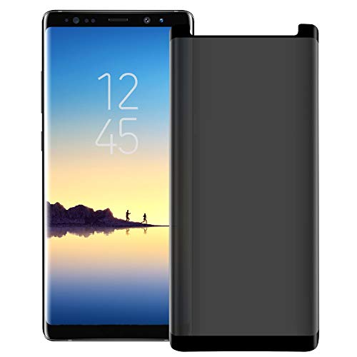Galaxy Note 9 / Note 8 Privacy Screen Protector, Anti Glare HD Tempered Glass [Anti-Scratch] [Anti-spy] [Easy to Install] 9H Hardness Case Friendly 3D Touch Screen Protector for Samsung Galaxy Note 9