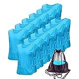 Antoyo Pinnies Adult Football Jersey, Adjustable Mesh Soccer Jersey Sky Blue-M