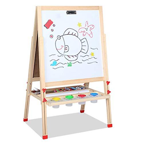 OSHA HJWMM Pizarra Madera Infantil, Doble Cara Pizarra y Tablero de Pintura Magnético Caballete de Borrado en Seco con 4 Tazas de Pintura (Color : B, Size : 148x55cm)