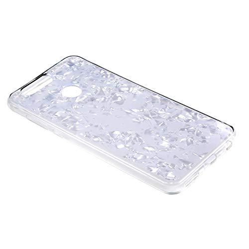 JAWSEU kompatibel mit Huawei Nova 2 Plus Hülle Silikon Schutzhülle 3D Muschel Muster Glitzer Durchsichtige TPU Silikon Handyhülle Handytasche Rückschale TPU Bumper Etui für Huawei Nova 2 Plus,Weiß - 3