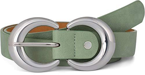 styleBREAKER Damen Gürtel Unifarben mit runder doppelter Schnalle, Hüftgürtel, Taillengürtel, kürzbar 03010106, Größe:85cm, Farbe:Jadegrün