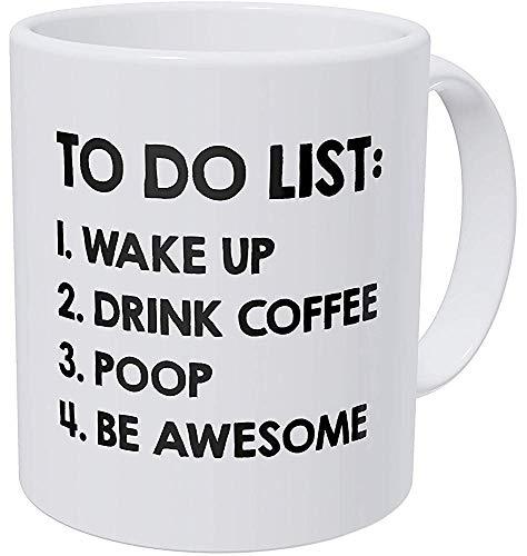 YF-SURINA eine Tasse zu tun Liste aufwachen trinken Kacke Be Awesome 11 Unzen lustige Kaffeetasse