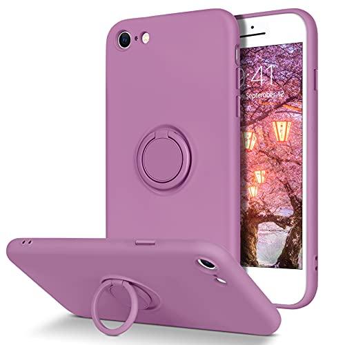 YINLAI iPhone SE 2020 Hülle,iPhone 8/7 Hülle Silikon mit 360 Grad Ring Ständer,Handyhülle iPhone SE 2020/8/7 Weiche rutschfeste Fallschutz Gel Matte Schutzhülle für iPhone SE...