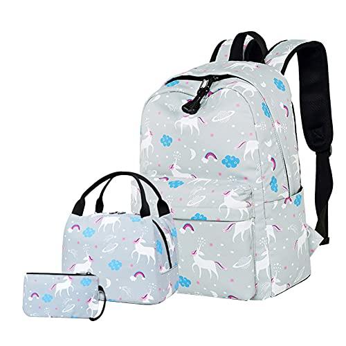 BYNYXI - Juego de mochila con diseño de dibujos animados, 3 piezas, mochila con impresión impermeable, bolsa de almuerzo, estuche para lápices, bolsa para ordenador portátil ligero