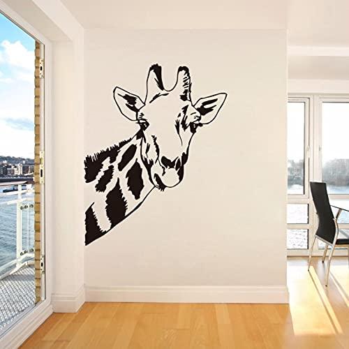 OUJINKUAJING Pegatinas de pared con cabeza de jirafa, diseño de animales salvajes de la selva, decoración del hogar, vinilo impermeable para habitación de los niños