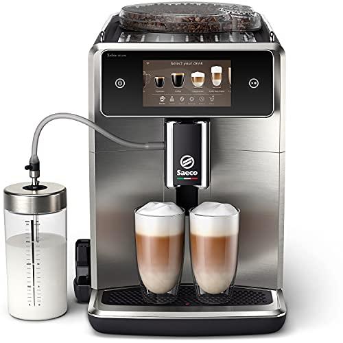 """Saeco Xelsis Deluxe w pełni automatyczny ekspres do kawy, kolorowy wyświetlacz dotykowy 5"""", z łącznością WiFi, 22 opcje pysznych napojów, 8 profili użytkownika, metalowy przód, SM8785/00"""