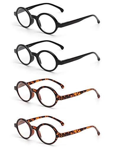 JM Satz von 4 Runden Lesebrille Federscharnier Leser Damen Herren Brillen für Lesen +3.0 Schwarz&Schildkröte