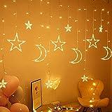 solawill Luces de Cortina, 12 estrellas Cortina Luces LED 8 modos guirnaldas LED...