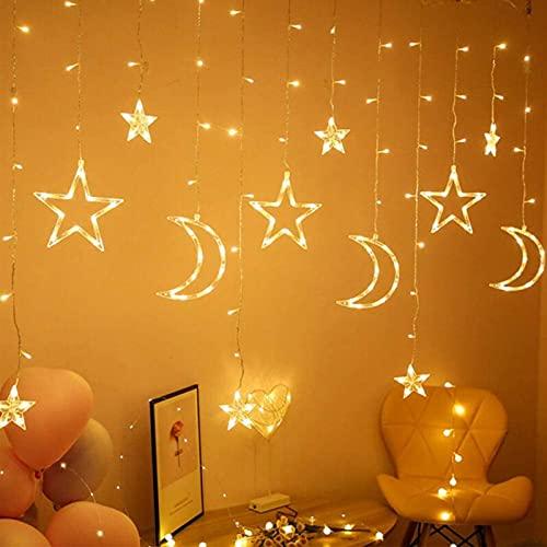 solawill Tenda Luminosa, Luci Fata LED 3.5 M Luci per Tende Luna Stella, LED Ghirlanda Lampada...