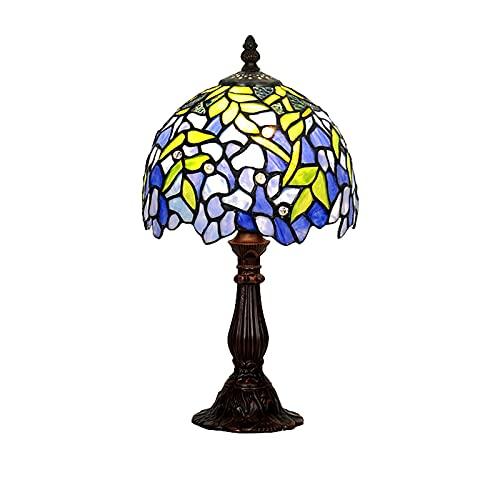 ASPZQ Wisteria Blaue Mediterrane Tischlampede Idyllisch Frische Und Schöne Dekorativo Glas Handgefertigte Wohnzimmer Arbeitszimmer Schlafzimmer Nachttischlampe,C