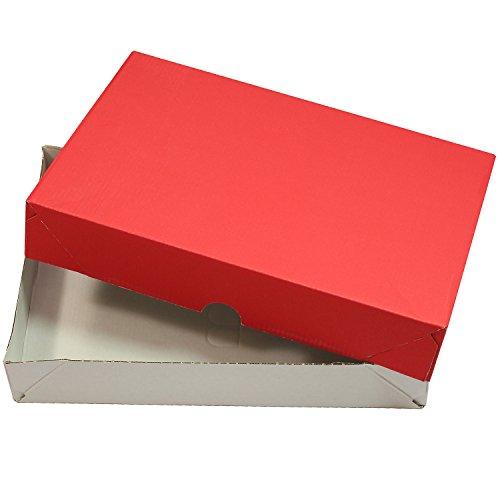 Faltkartons für DIN A4 Rot-Weiß (20 Stück) Versandkartons Faltschachteln 305 x 215 x 50 mm