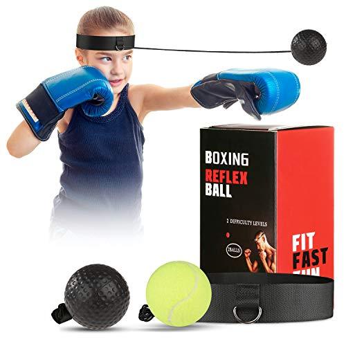 OOTO verbesserte Box-Reflex-Ball, Box-Trainingsball, MMA-Geschwindigkeitstraining, geeignet für Erwachsene/Kinder, Beste Box-Ausrüstung für Training, Hand-Augen-Koordination und Fitness, Grün/Schwarz