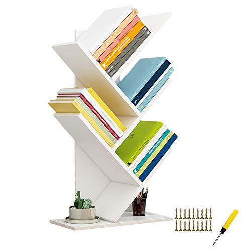 QUMENEY Estantería de árbol, torre de libros de madera, estantería de 5 estantes, soporte para libros, CDs, álbumes/archivos, estante de almacenamiento de exhibición para el hogar, la oficina (blanco)