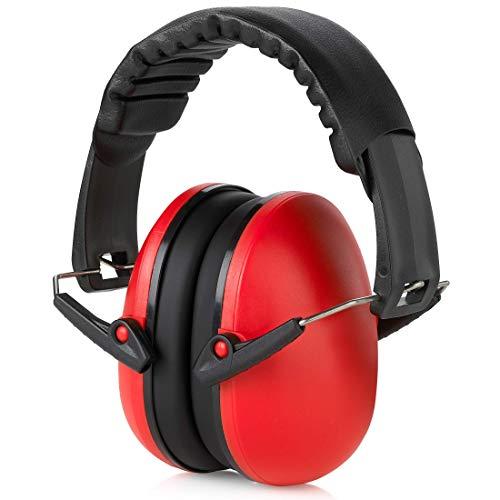 Orejeras de protección auditiva y reducción de ruido, ligeras, ajustables y plegables NRR 20dB de seguridad para disparos, maquinaria pesada, trabajo y caza, para adultos y niños, rojo