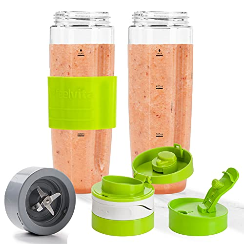 Genius Feelvita Nutri Mixer Zubehör To Go-Set 600ml (6 Teile) - perfekt für unterwegs - Trink-Flasche für kalt und heiß mit auslaufsicherem Deckel Mixbehälter bruchsicher