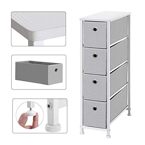 SONGMICS Narrow Dresser, Vertical Storage Unit with 4 Fabric Drawers, Metal Frame, 7.9', Light Gray