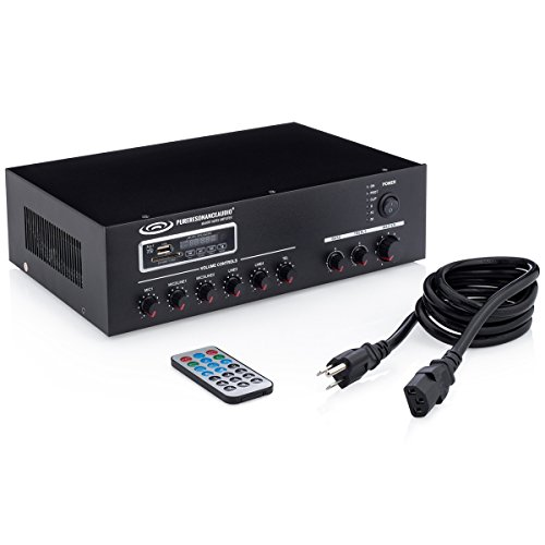 Pure Resonance Audio MA60BT 7-Channel 60W Commercial Mixer Amplifier with Bluetooth 70V 100V 4 or 8 ohm Outputs