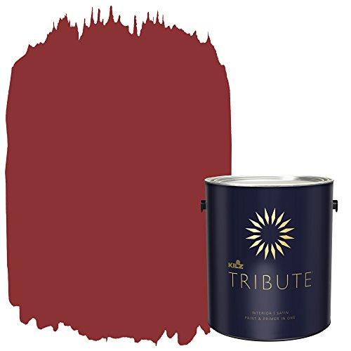 KILZ TRIBUTE Interior Satin Paint and Primer in One, 1 Gallon, Haute Red (TB-97)