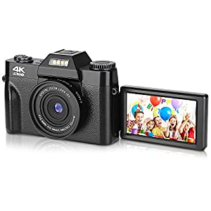 "BZK CT-2 Digital Camera, 4.0K 48MP Full HD Camera, Vlogging Camera with WiFi, 16X Digital Zoom and 3.0"" Inch 180 Degree Rotation Flip Screen for Video and Photography (Black) by JH"