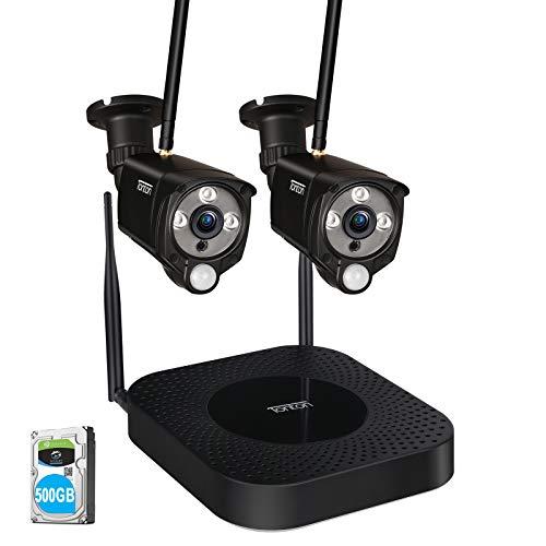 Sistema di telecamere di sicurezza wireless Full HD 1080p Tonton, registratore NVR 4T,disco rigido da 1 TB e telecamera da esterno impermeabile Bullet 2PCS 2.0 MP con sensore PIR per la registrazione