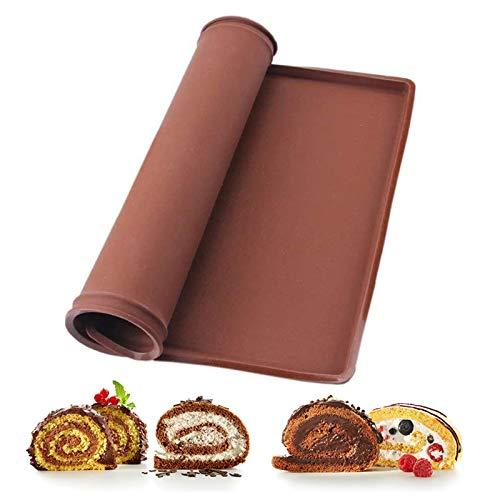 Silikon Backmatte mit Rand,Groß silikonmatte Antihaftbeschichtet Backmatte Silikon Backunterlage Wiederverwendbar Silikon Backblech Rollmatte Swiss Roll Backmatte Kochmatte für Kuchen (36x28x1,5cm)