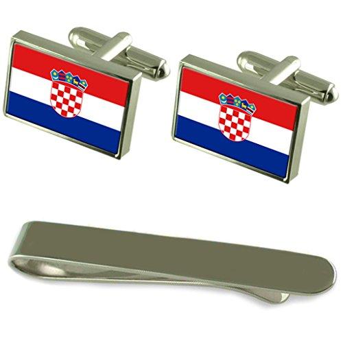 Select Gifts Kroatien Flagge Silber Manschettenknöpfe Krawatten Geschenkset mit Gravur