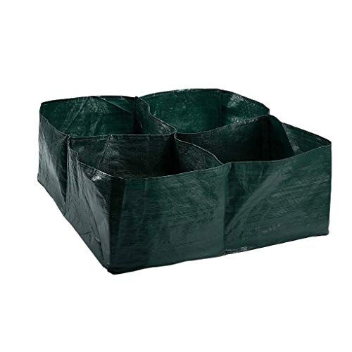 Idyandyan 4 Divided Grids Square Planting Container Grow Bag Fabric Plants PE Fabric Plants Flowers Vegetables Planter Pot Raised Garden Bed