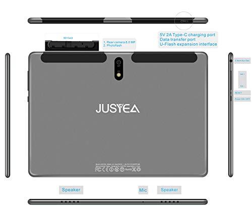 Tablet 10.1 Pulgadas Android 10.0 Tableta Ultra-Portátiles - RAM 4GB   64GB Expandible (Certificación Google gsm) -JUSYEA - Batería de 8000mAh - WiFi —Ratón   Teclado y Otros - Gris