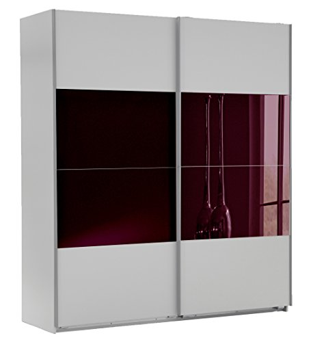 Wimex Kleiderschrank/ Schwebetürenschrank Easy A Plus, (B/H/T) 135 x 210 x 65 cm, Weiß/ Absetzung Glas Brombeere