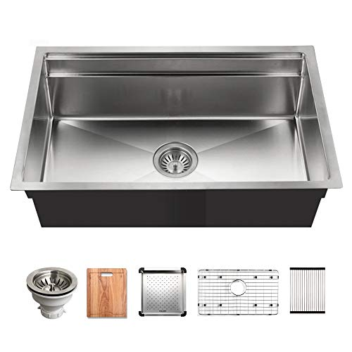 Houzer NVS-5200 Novus Sliding Dual Platform Workstation Kitchen Sink, Stainless Steel