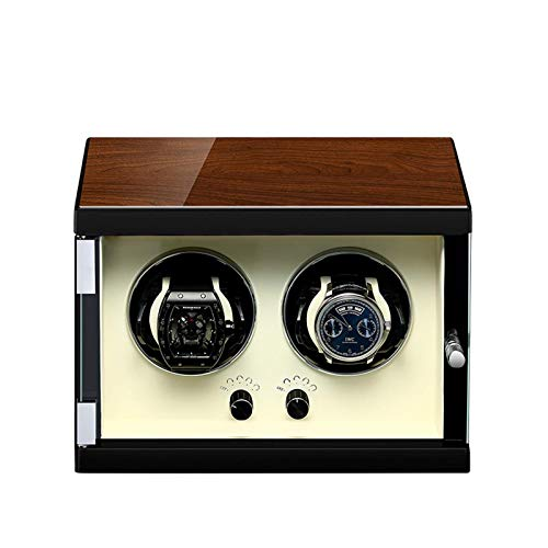 WXDP Enrollador de Reloj automático,Doble para Relojes automáticos Agitador de Relojes Motor silencioso Ajuste de 5 Modos de rotación Cuero de Fibra de Car