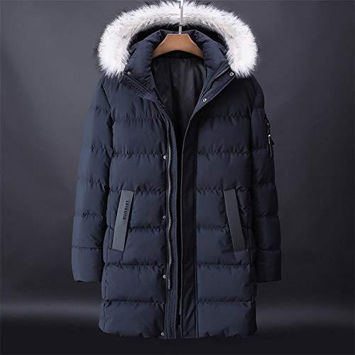 YHWW Chaqueta de Plumas,Plus Size L-8XL 9XL Winter Parka Jacket Men Fashion Hooded Fur Collar Windbreaker Parkas Men Mid-Long Keep Warm,Deep Blue,XXXL