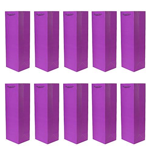 Paquete de 10 pieces de bolsos de la botella bolsos de regalo morado para vino, cava y champán 36x12x10