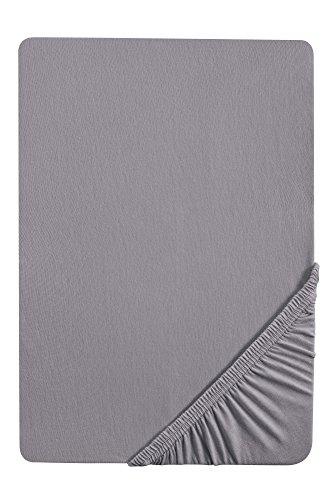 biberna 12344 Frottee-Stretch Spannbetttuch, ca. 90 x 190 cm bis 100 x 200 cm, nach Öko-Tex Standard 100, silber/grau