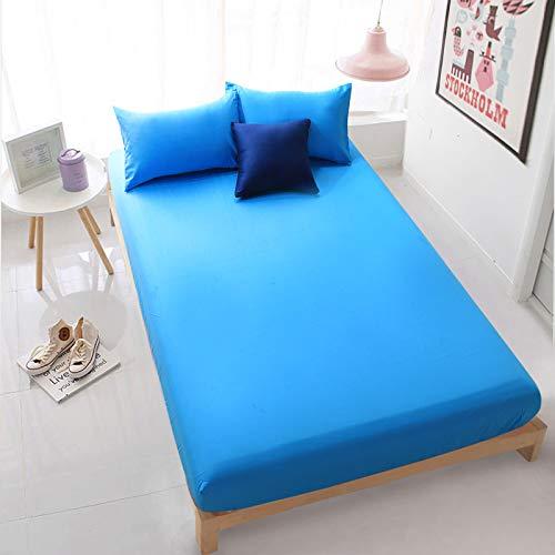 haiba Sábana bajera ajustable básica, funda de colchón para cubrecolchón con somier, sábana de algodón, azul, 200 x 220 x 30 cm