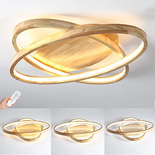 LED Deckenleuchte Holz Lampe 2-Ring Deckenlampe Dimmbar Mit Fernbedienung Schlafzimmerlampen ∅70cm Eiche Zimmerlampe Küchenleuchte Oval Acryl-Schirm Decke Licht Wohnzimmer Lampe