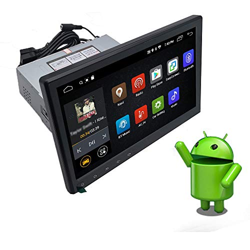 YODY 10.1 Inch Single Din Android 9.0 Car Stereo Support Bluetooth WiFi GPS Navigation Mirror Link AM/FM/RDS OBD2 Touch Screen Car Radio Player Free Backup Camera and Microphone