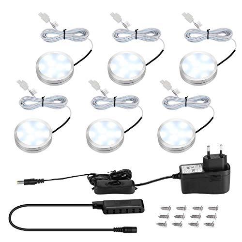 LE Kit 6 spots LED 2 W, équivalent halogène de 25 W, 1020 lumens au total blanc froid avec adaptateur pour dessous de meuble et armoires (kit complet)