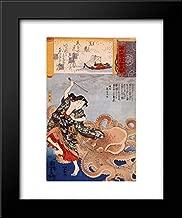 Tamakatzura Tamatori Attacked by The Octopus 15x18 Framed Art Print by Utagawa Kuniyoshi