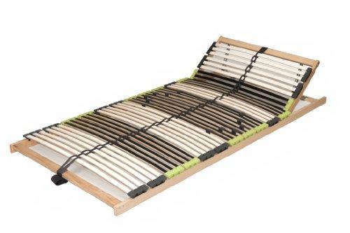 DaMi Lattenrost Relax 120 x 200 cm (zerlegt) - 7 Zonen Lattenrahmen Aus Buche Mit 6-Fach Härteverstellung - Kopfteil verstellbar