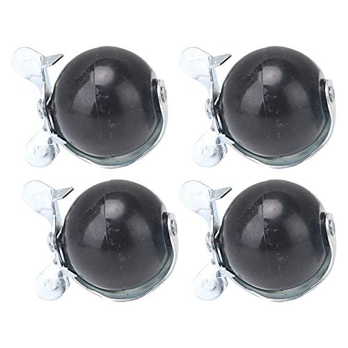 Mxfans 4 ruedas giratorias de 2 pulgadas de plata con vástago de bola de rosca M8 con frenos
