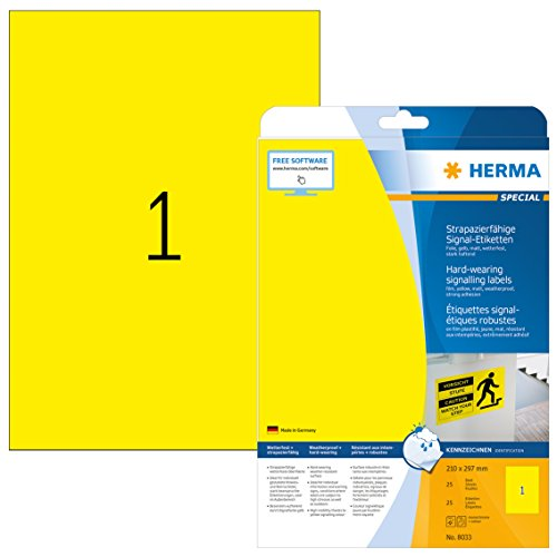HERMA 8033 Wetterfeste Folien-Etiketten DIN A4 (210 x 297 mm, 25 Blatt, Polyesterfolie, matt) selbstklebend, bedruckbar, extrem stark haftende Outdoor Signal-Etiketten, 25 Klebeetiketten, gelb