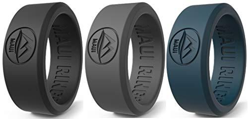 MAUI RINGS Anello da uomo in silicone Wedding Ring for Men SOLID, set di anelli da uomo e da uomo, regalo di compleanno, regalo per uomini, idea regalo, Combo 5, 69 /US:13 / UK:Z+1 (22.40mm)