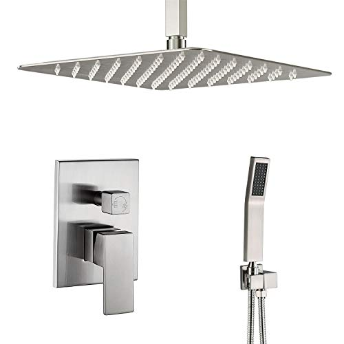 Shower System Brushed Nickel 12 Inch Luxury Rain Mixer Shower Set Ceiling Mounted Shower Head System Shower Faucet Rough-in Valve Body and Trim Included
